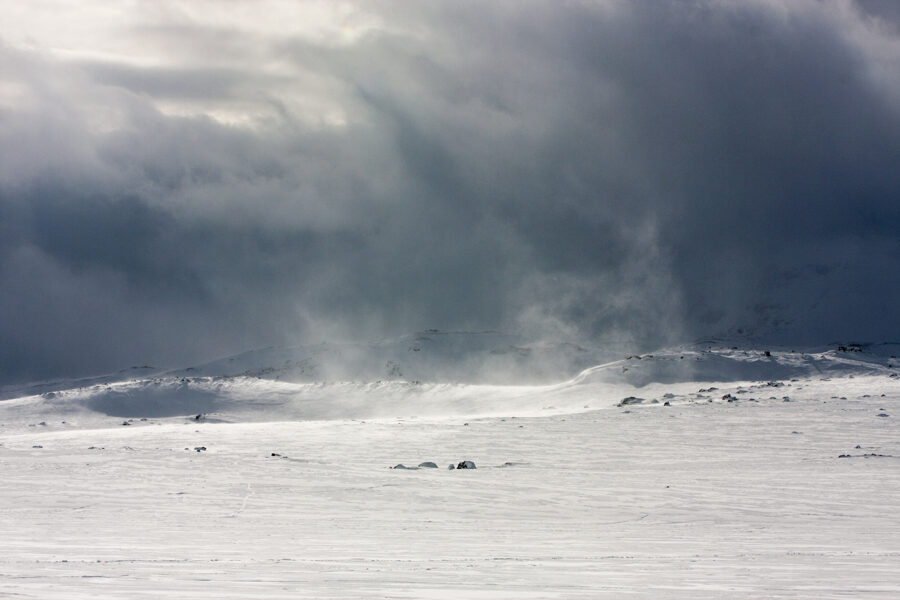 Flying Snow Ice Landscape